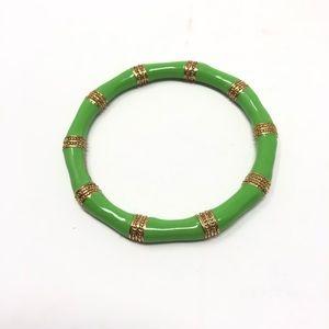 Lilly Pulitzer Bracelet Green Enamel Gold Bangle